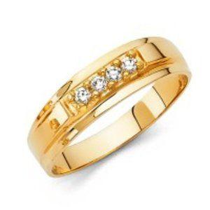Men 14k Gold 6mm Round CZ wedding Band Ring
